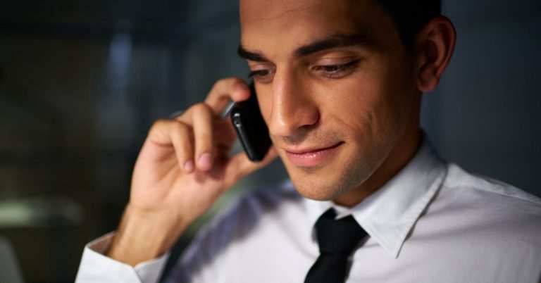 white collar worker on the phone